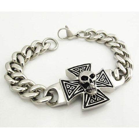 Stainless Steel Biker Bracelet with Skull and Cross - 570002-Badboy Jewellery