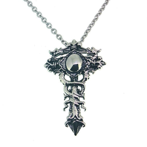 Stainless Steel Cross with Snakes Pendant-Badboy Jewellery