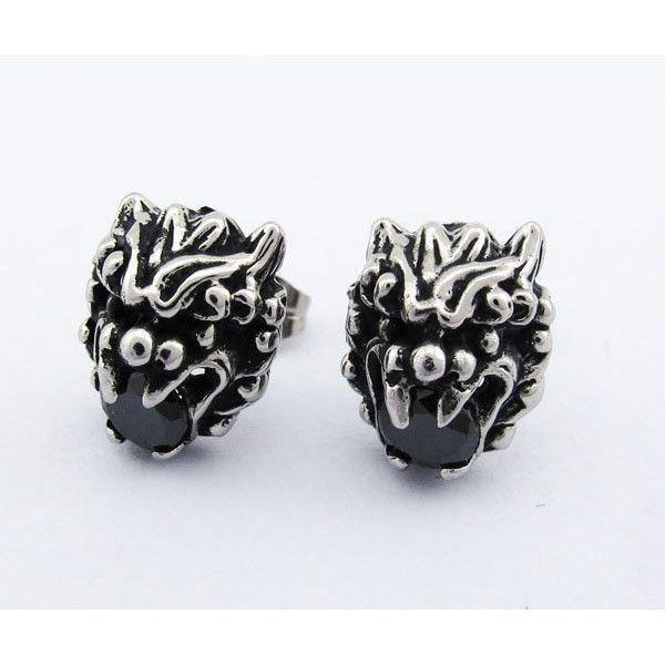 Stainless Steel Dragon Head Earrings - Black Or White Stones - 500007-Badboy Jewellery