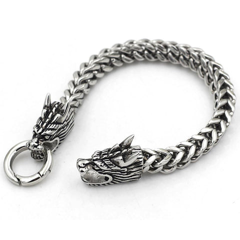 Stainless Steel Dragon Heads Bracelet-Badboy Jewellery