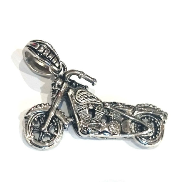 Stainless Steel Motorcycle Pendant - 890020-Badboy Jewellery