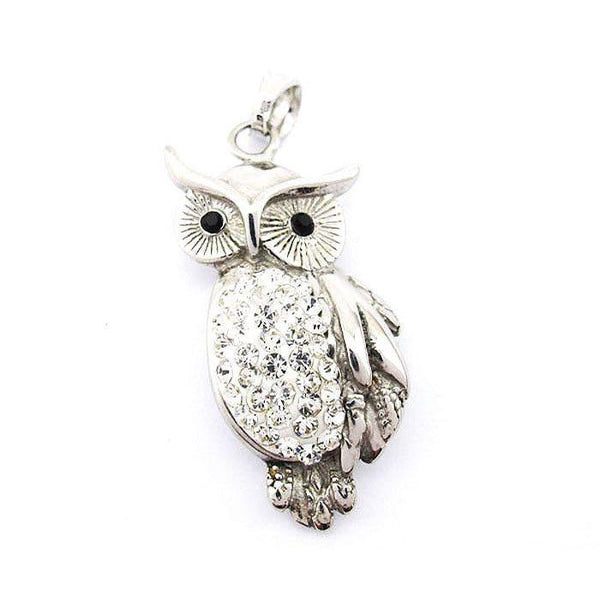 Stainless Steel Owl Pendant With CZs - 420026-Badboy Jewellery