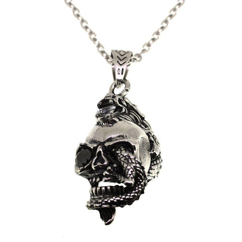 Stainless Steel Skull with Lucky Dragon Pendant-Badboy Jewellery