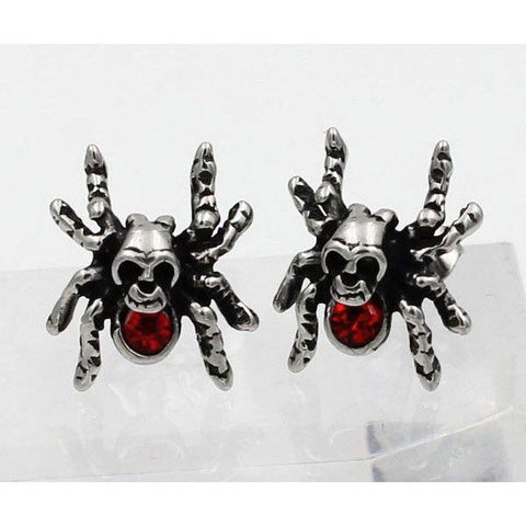 Stainless Steel Spider Skull Earrings with Red Stone - 690013-Badboy Jewellery