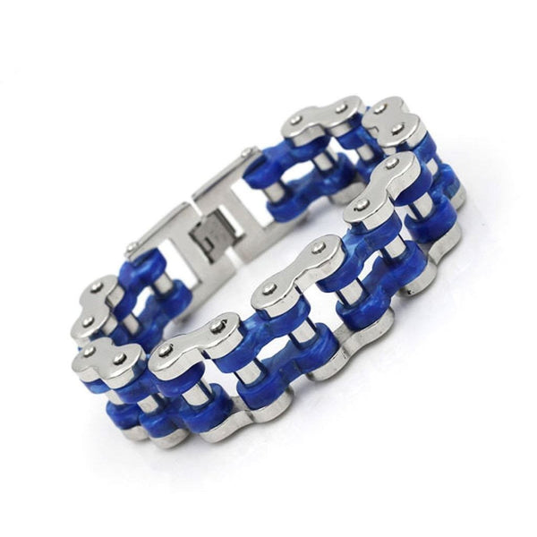 Steel & Blue Acetate Motorcycle Chain Bracelet - 19.7mm Wide-Badboy Jewellery