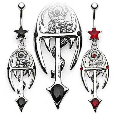 Steel Dragon and Cross Navel Bar-Badboy Jewellery