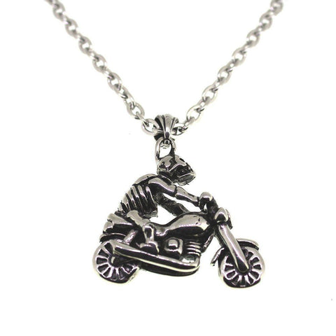 Steel Skeleton Riding Bike Pendant - 4500081-Badboy Jewellery