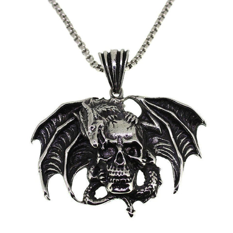 Steel Skull with Winged Dragon Pendant-Badboy Jewellery