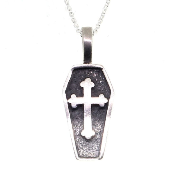 Sterling Silver Coffin Pendant With Cross-Badboy Jewellery