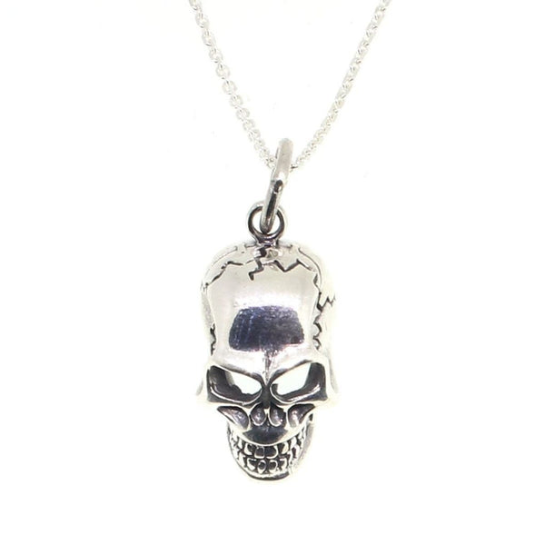 Sterling Silver Cracked Skull Pendant-Badboy Jewellery