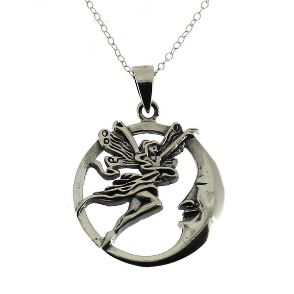 Sterling Silver Fairy and Moon Pendant-Badboy Jewellery