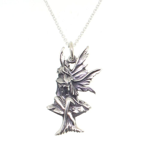 Sterling Silver Fairy on Toadstool Pendant-Badboy Jewellery
