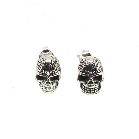 Sterling Silver Flaming Skull Earrings-Badboy Jewellery