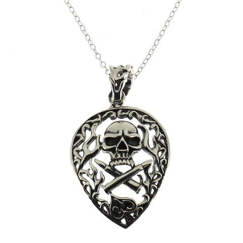 Sterling Silver Skull and Crossed Bullets Pendant-Badboy Jewellery