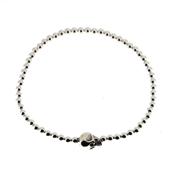 Sterling Silver Skull Bracelet with Silver Beads-Badboy Jewellery