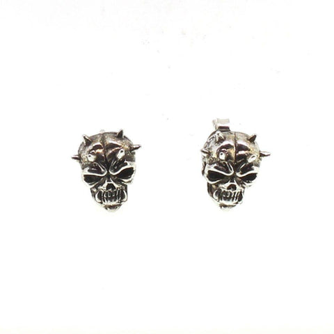 Sterling Silver Spiked Skull Earrings-Badboy Jewellery