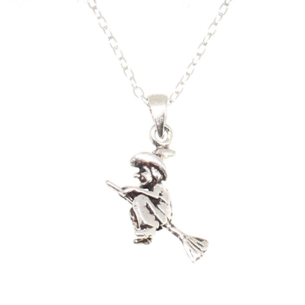 Sterling Silver Witch on Broomstick Pendant-Badboy Jewellery