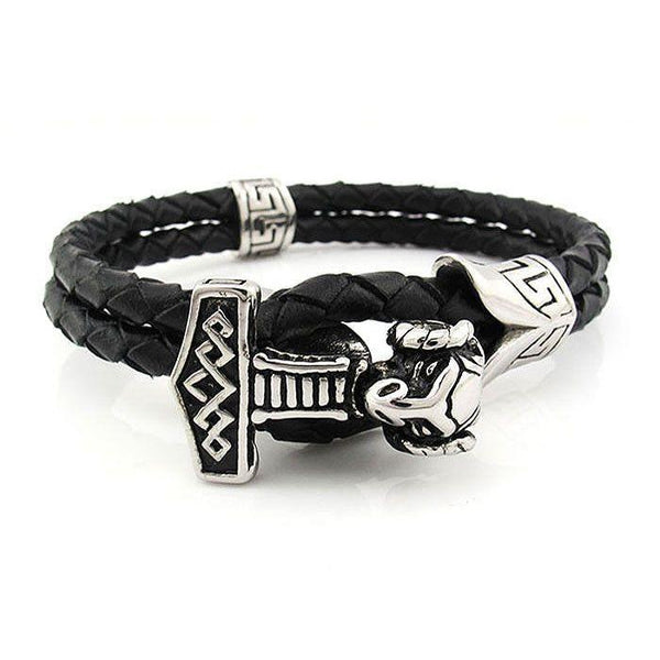 Thor's Hammer Bracelet - Leather & Stainless Steel - 560001-Badboy Jewellery