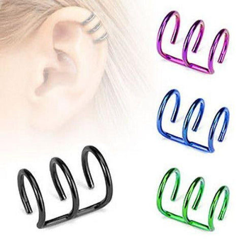 Titanium IP Fake Cartilage Triple Closure Ear Cuff-Badboy Jewellery