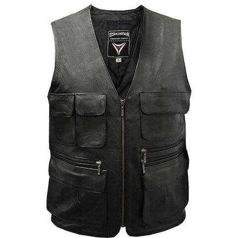 Trapper - Multi-Pocket Biker Vest by Skintan Leather-Badboy Jewellery