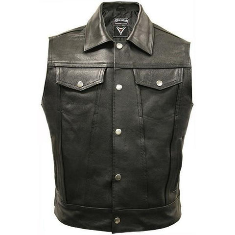 Trucker - Leather Cut Off Biker Vest by Skintan Leather-Badboy Jewellery