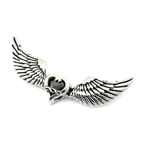 Winged Heart Pendant With Black CZ - 170487-Badboy Jewellery
