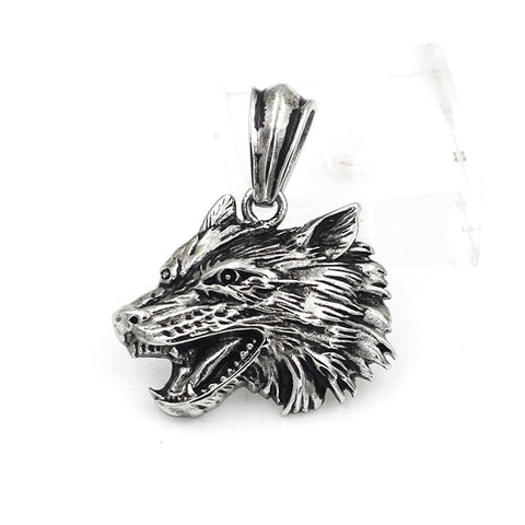 Wolf Head Pendant - Stainless Steel-Badboy Jewellery