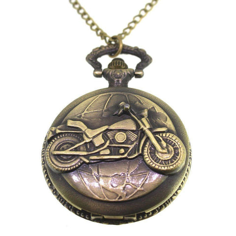 Zinc Alloy Antique Bronze Colour Bike Pocket Watch Necklace-Badboy Jewellery