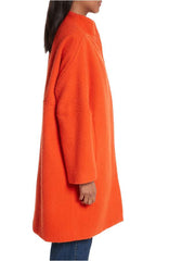 Rachel Comey Winter Coat in Persimmon, Side, Made in America