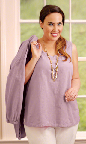 On The Plus Side, Plus Size Top in Periwinkle American Made