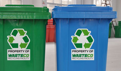 Blue and Green recycling Bins for Paper, plastic and metal