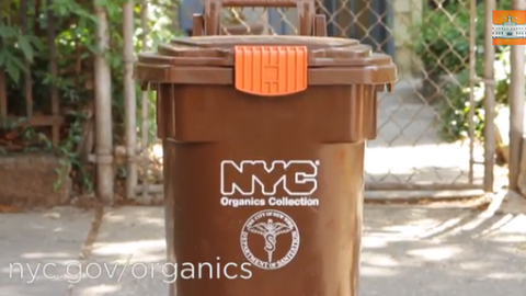 NYC Compost + Organics brown recycling bin