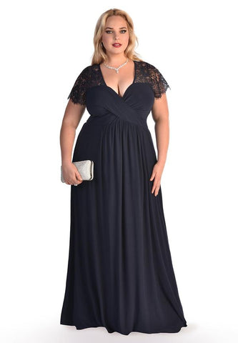 IGIGI Plus Size Long Black Dress American Made