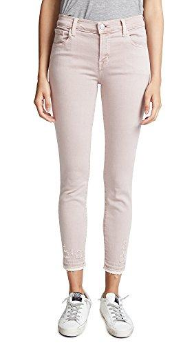 Mid Rise Destructed and Cropped Skinny Jeans, J Brand