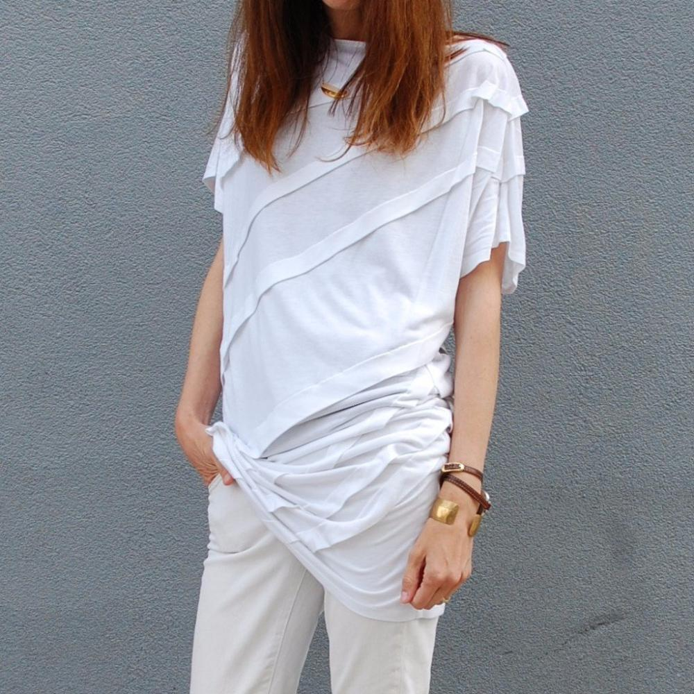 White Pleated Short Sleeve Tunic by St Austere made in NYC