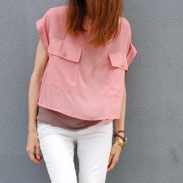 St Austere Pink Chiffon Top made in USA