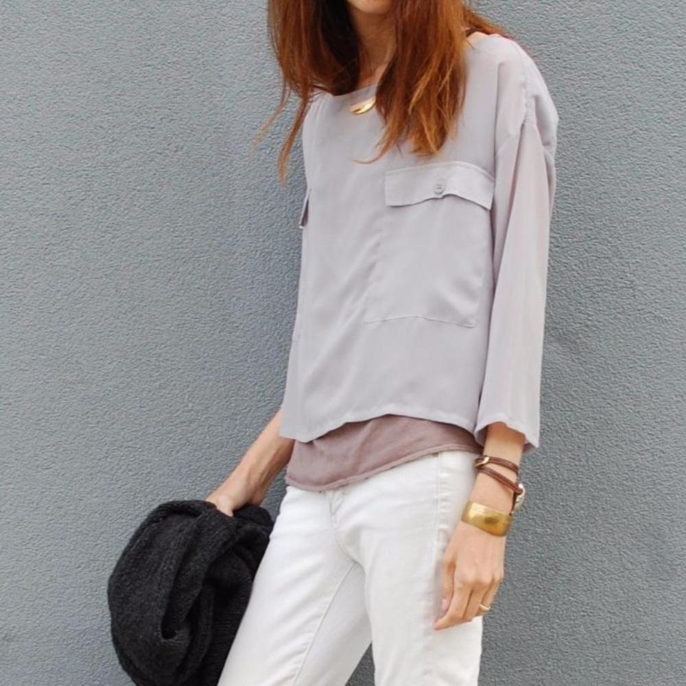 Made in USA St. Austere Grey Chiffon Top