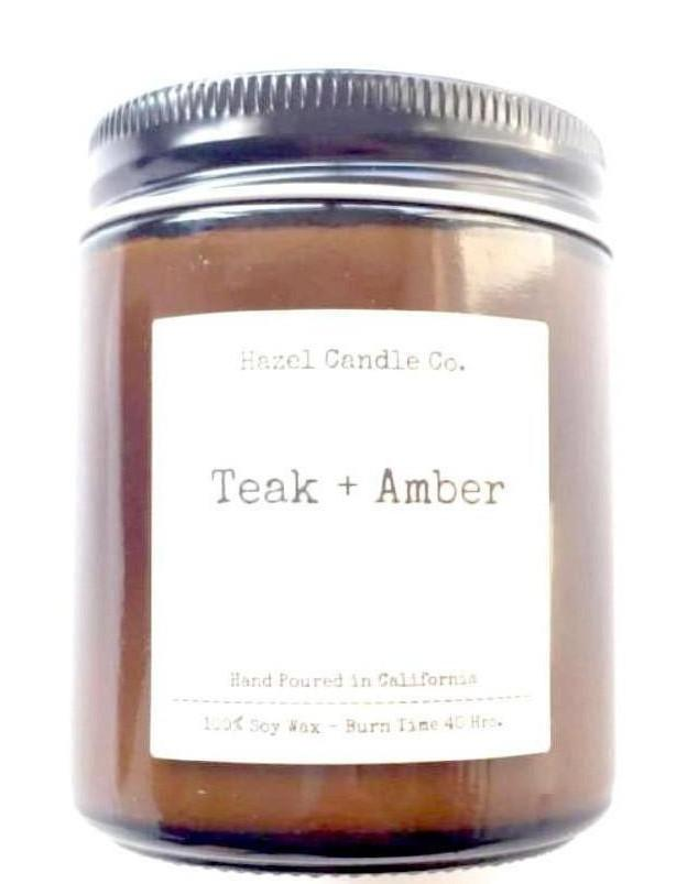 Teak and Amber handmade Candle, Made Locally