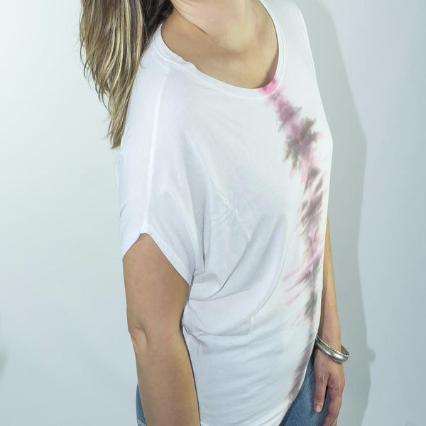 Indigo Apparel NY white and pink t-shirt, Made in NYC