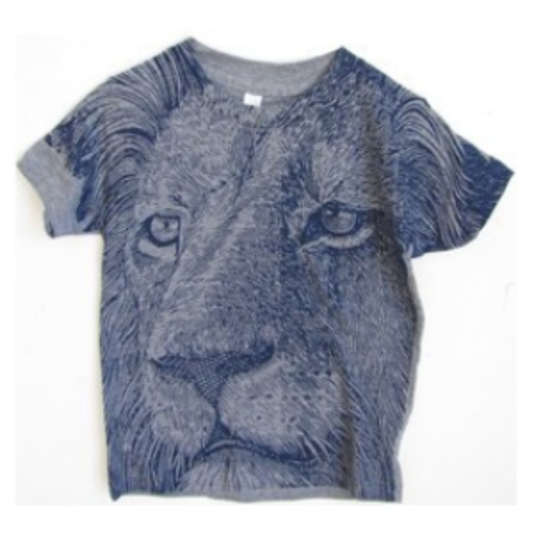 Lucky Fish Jann Lion T-shirt in Blue made in USA