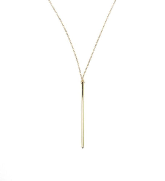 made in USA long bar necklace