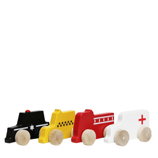 Manny and Simon mini vehicles: police car, taxi, firetruck and ambulance