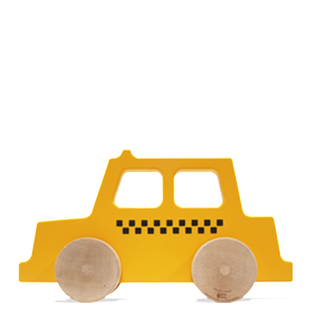 Wooden Taxi Push Toy made in America