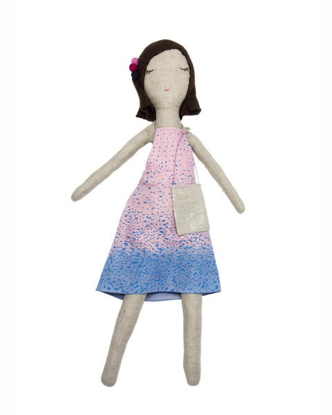Handmade doll with tie dye dress by Snuggly Ugly