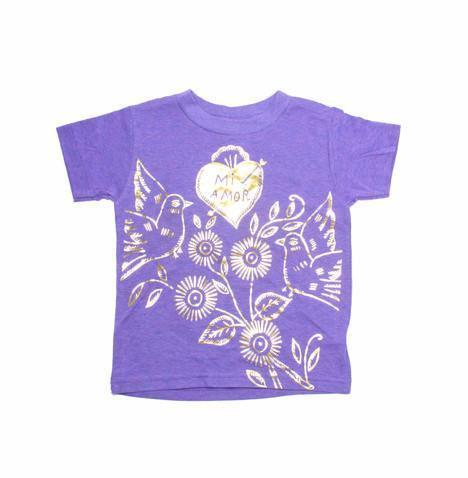 Mi Amour Emma heart T-t-shirt in purple, Made in USA