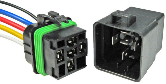 Pico 12 Volt 40 Amp 5 Terminal Automotive Change-Over Relay and Connector Pigtail Set #5593PT - AutoCareParts.com