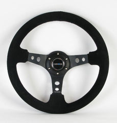 NRG Steering Wheel - 06 (Deep Dish) - 350mm (13.78 inches) - Black Suede with Black Spokes