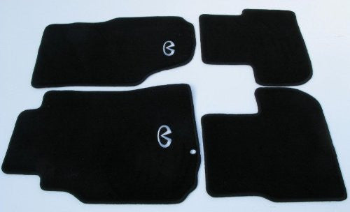 NRG Innovations Carpet Floor Mats - Black with Silver Logo - 4 Piece Set