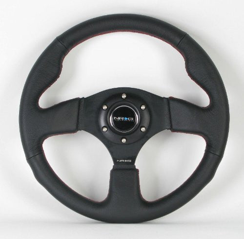 NRG Steering Wheel - 12 (Race) - 320mm (12.60 inches) - Black Leather / Black Spokes with Red Stitching