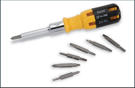 Lutz Tools 15-in-One Ratchet Screwdriver, Yellow #21002 - AutoCareParts.com